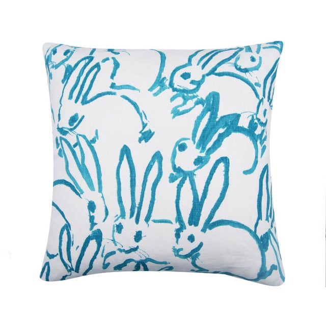 This whimsical bunny printed fabric is called Hutch print in aqua. The back side has coordinating aqua and ivory cotton...