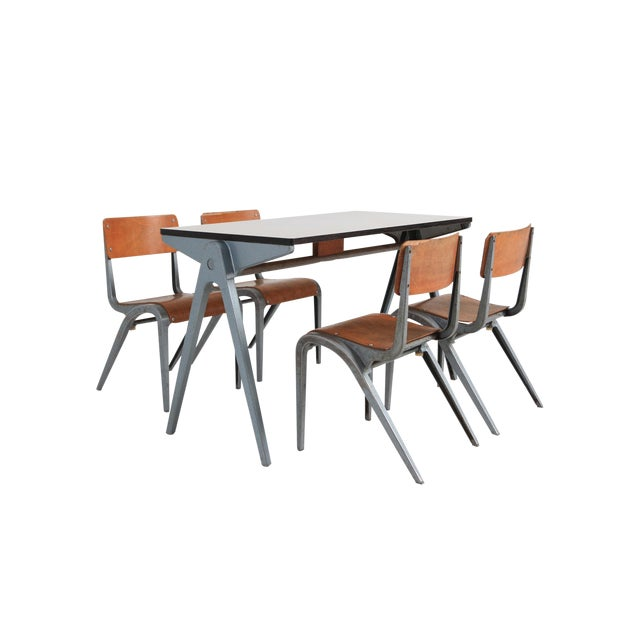 Industrial Writing Desk Table With Chairs for Kids by James Leonard for Esavian For Sale