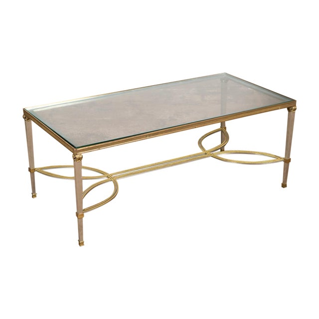 Hollywood Regency Mix Metal Bronze Coffee Table For Sale