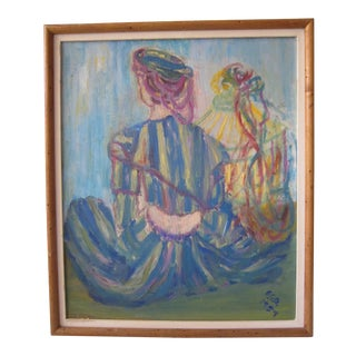Mid-Century Abstract Woman, Signed F.G.D.