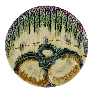 Luneville French Majolica Asparagus & Shell Plate, Circa 1890 For Sale