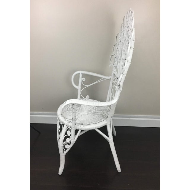 Wicker Early 20th Century Antique White Wicker Chair For Sale - Image 7 of 12