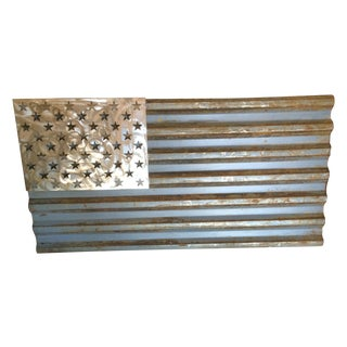 Industrial Reclaimed Metal American Flag - Made to Scale For Sale