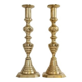 Antique Vintage Solid English Brass Pushup Candlestick Holders For Sale
