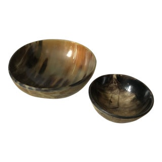 Natural Horn Carved Bowls - A Pair