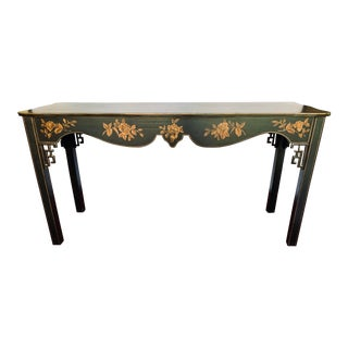 Black and Gold Painted Chinoiserie Console Table Chelsea House For Sale