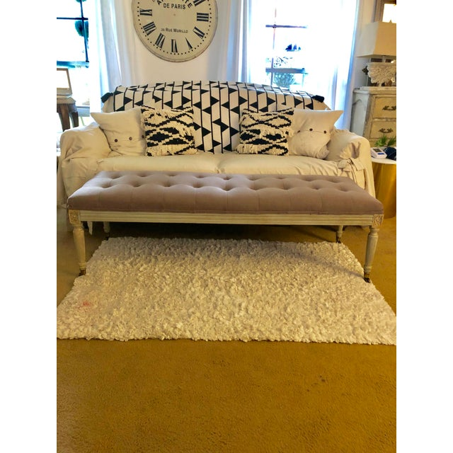 Modern Upholstered Tufted Bench For Sale In Houston - Image 6 of 9