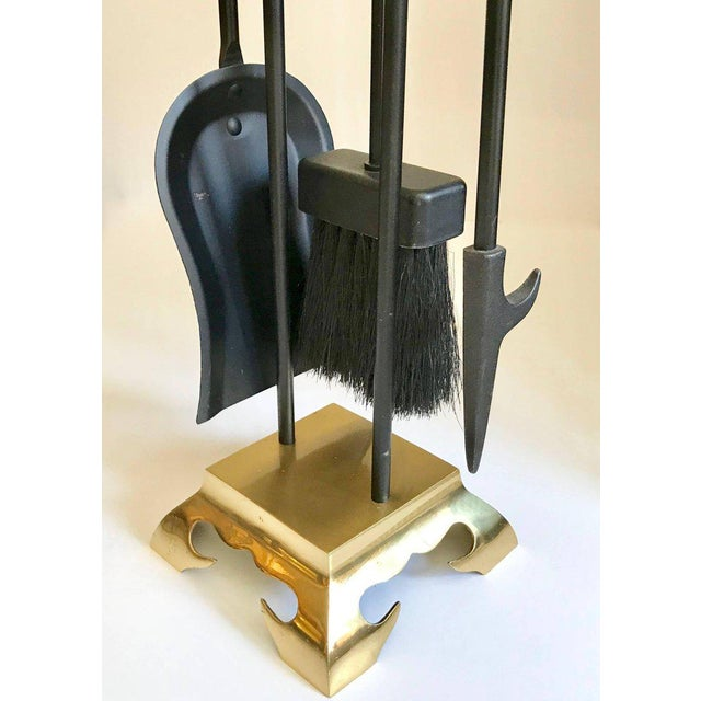 1960s Asian Modern Brass and Iron Fireplace Tool Set For Sale - Image 5 of 13