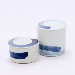 Asian Modern Brushstroke Detailed Porcelain Lidded Jar - Large Preview
