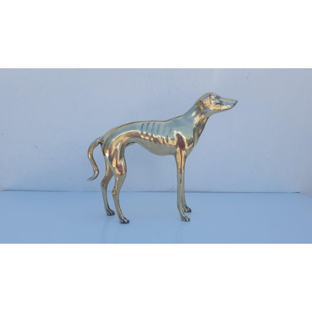Hollywood Regency Brass Sculpture of Whippet or Greyhound Dog For Sale In Miami - Image 6 of 6
