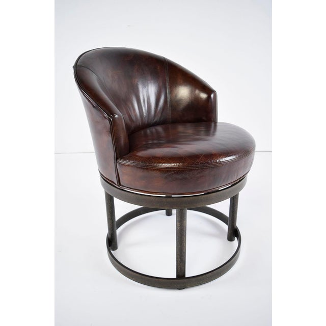 Vintage Art Deco Style Leather Accent Chairs - Set of 4 - Image 5 of 10
