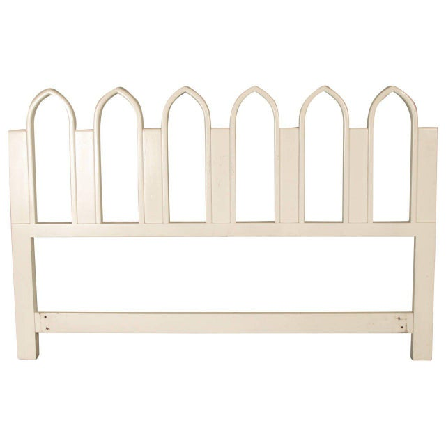 1965 Harvey Probber Full or Queen-Size White Gothic Arch Headboard For Sale - Image 5 of 5
