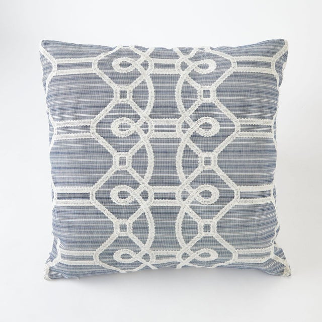 Schumacher Ziz Embroidery Blue Square Pillow 26x26 For Sale In New York - Image 6 of 6