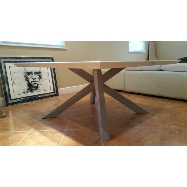 Contemporary White Lacquered Dining Table - Image 7 of 9