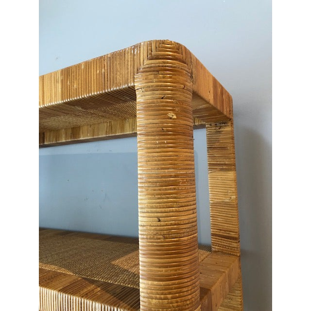 Bielecky Brothers 1970's Hollywood Regency Bielecky Brothers Rattan Wrapped Etagere For Sale - Image 4 of 8