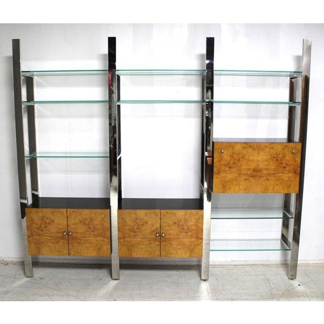 Super Burl Wood Thick Glass Shelves 3 Bay Wall Unit Home Interior And Landscaping Ferensignezvosmurscom