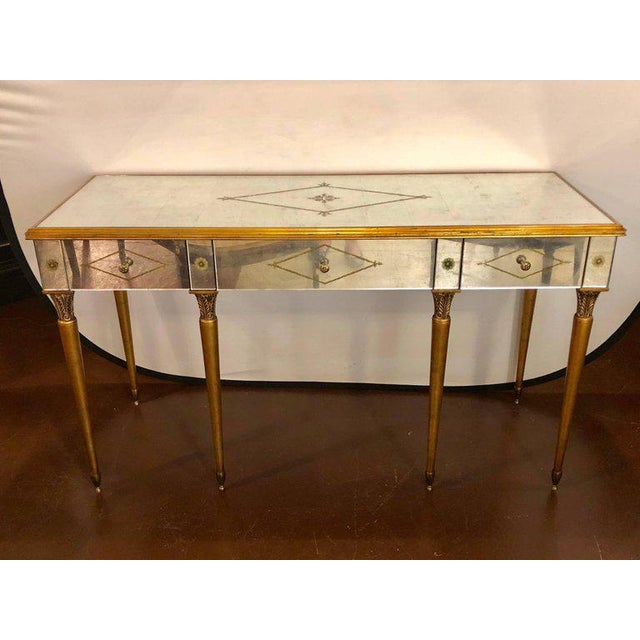 Hollywood Regency Style Mirrored Desk Or Vanity églomisé Decoration By Heritage Supported Sleek Tapering