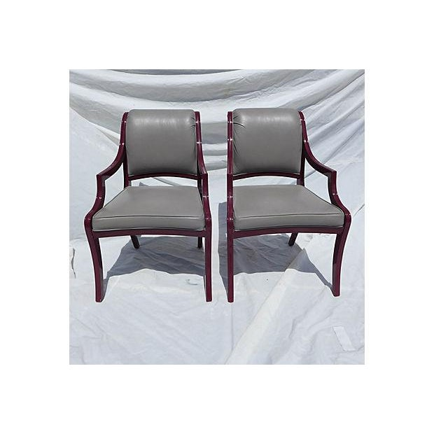 """Pair of contemporary glam-dining chairs in lavender. Lacquered. Upholstered in gray leather. Maker's mark reads """"Century,..."""