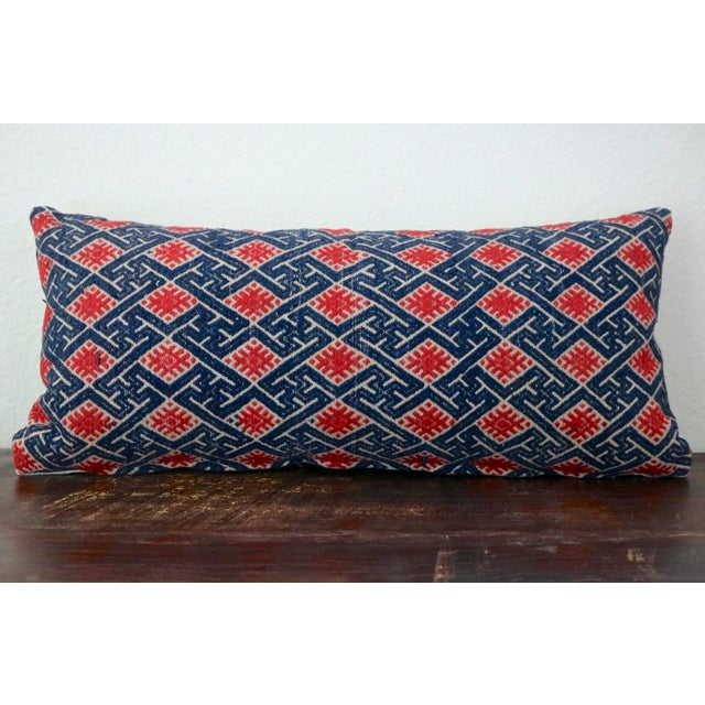 d4f102b28 1960s 1960s Boho Chic Blue and Red Linen Chinese Wedding Blanket Pillow  Cover For Sale -