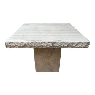 1970's Polished Travertine Occasional Table For Sale