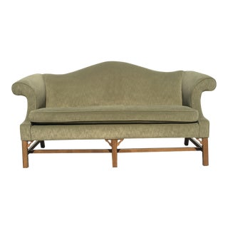 Vintage Ethan Allen Chippendale Style Camel Back Sofa For Sale