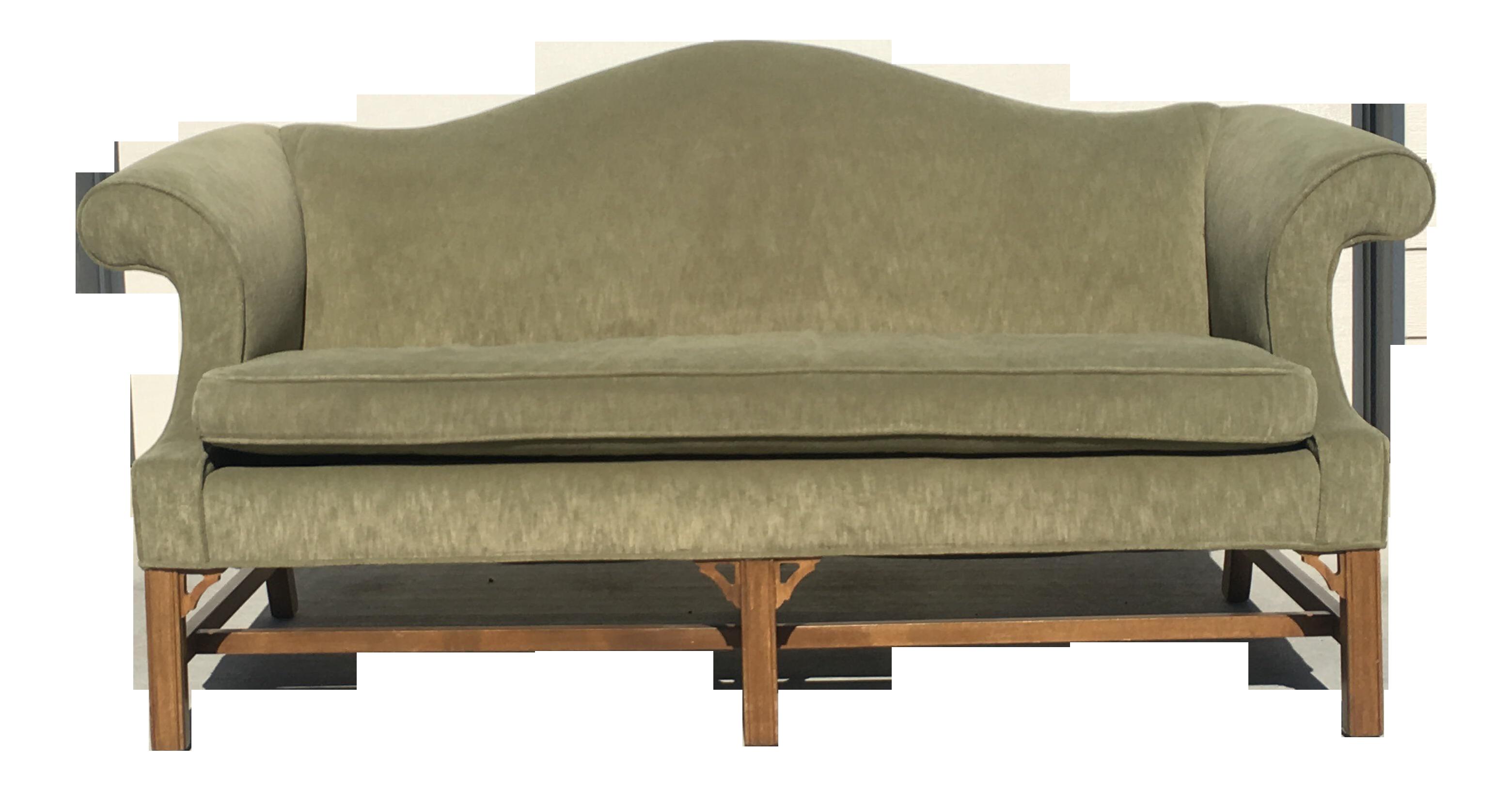 Vintage Ethan Allen Chippendale Style Camel Back Sofa