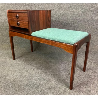 Vintage Danish Mid Century Modern Rosewood Telephone Bench/Entry Way Console Preview