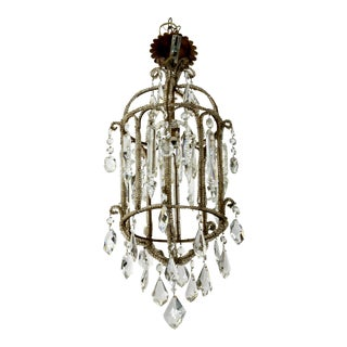 French Crystal Lantern Style Chandelier With Beading