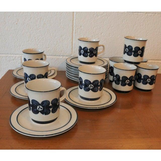 Mid-Century Design Four Cobalt Mugs & Saucers - 10 - Image 7 of 9