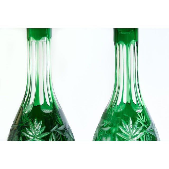 Green Vintage Pair Cut Crystal Decanters- A Pair For Sale - Image 8 of 13
