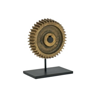 Antique Bronze Gear on Mounted Iron Stand For Sale