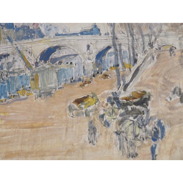 """Early 20th Century Pastel Watercolor Painting Titled """"Quai"""" For Sale - Image 5 of 5"""