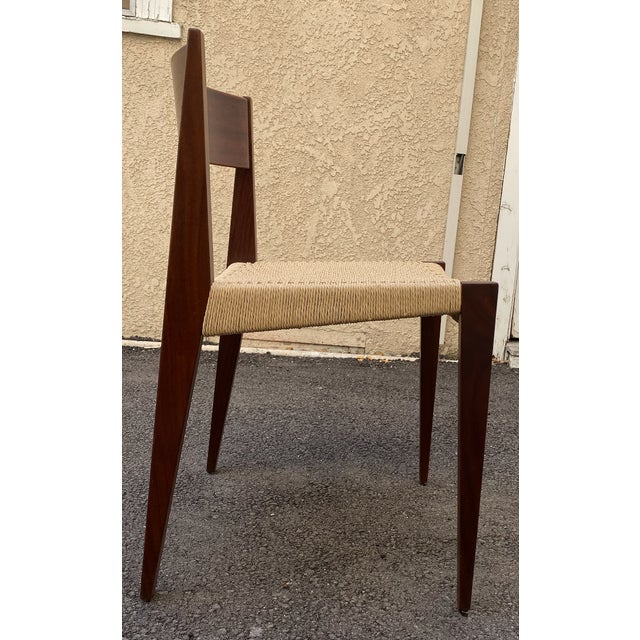 Brown Set of 4 Danish Teak Cord Seat Dining Chairs For Sale - Image 8 of 12