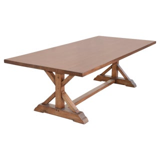 Custom Farm Table in Vintage White Oak For Sale