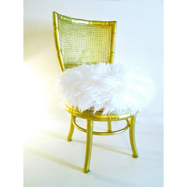 Gold Faux Bamboo & Fur Swivel Chair - Image 3 of 8