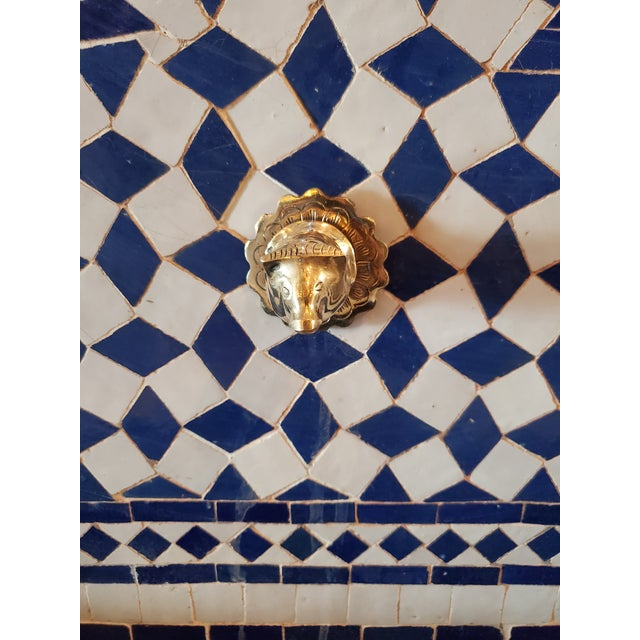 Extra large Moroccan mosaic fountain handmade in Marrakech, Morocco. Colors are blue and white. This type of fountain is...
