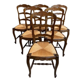 1920s French Country Carved Oak Ladder Back Dining Chairs - Set of 6 For Sale