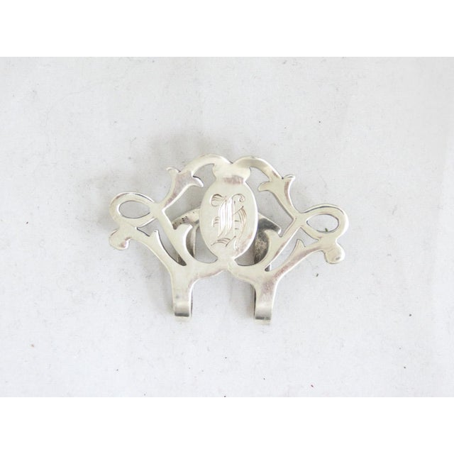 Lunt Sterling 1940's Napkin Clip with Monogram - Heavy