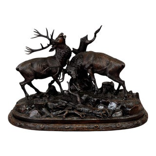 Late 19th Century Grandiose Carved Wood Fighting Stags Sculpture by Rudolph Heissl For Sale