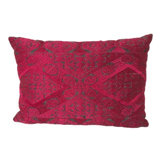 Boho-Chic Vintage Handcrafted Embroidered Bright Pink Velvet Decorative Pillow