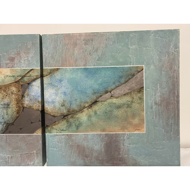 Mid-Century Three Piece Mixed Media Painting For Sale In Washington DC - Image 6 of 12