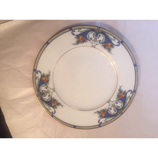 "Set of 12 English Worcester Hand Painted Fruit Basket with gold beading Royal Worcester Porcelain Dinner Plates 10 1/2""..."