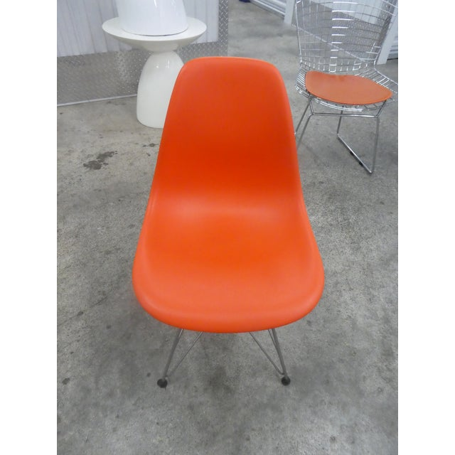 Early 21st Century 8 Orange Herman Miller Eames Office Eiffel Tower Chairs For Sale - Image 5 of 10