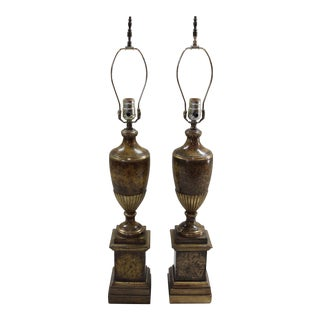 """Borghese"" Plaster Urn Lamps - a Pair"