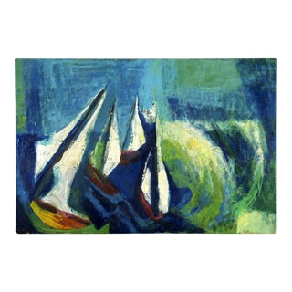 1970s Midcentury Abstract Expressionist Nautical Oil Painting