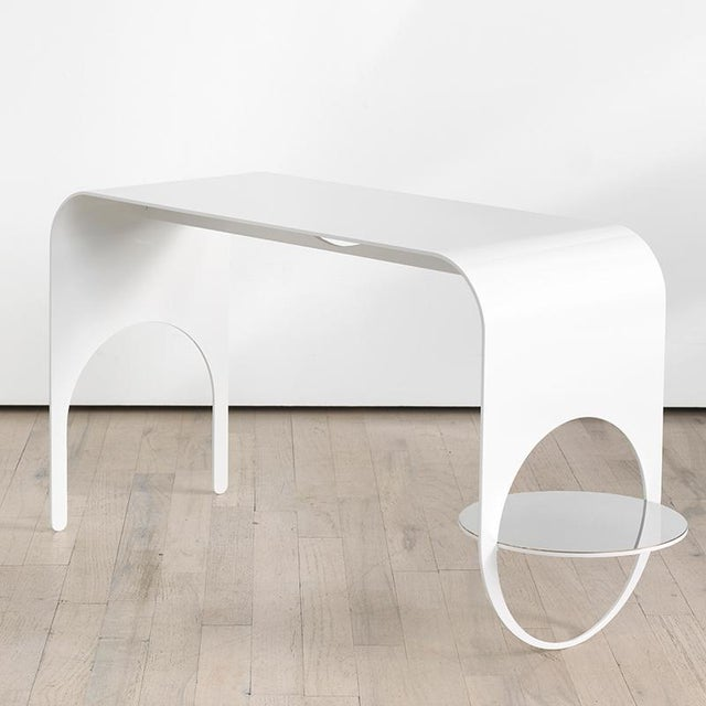 Not Yet Made - Made To Order Contemporary White Powder Coated Steel and Polished Steel Shelf Thin Table 2 For Sale - Image 5 of 5
