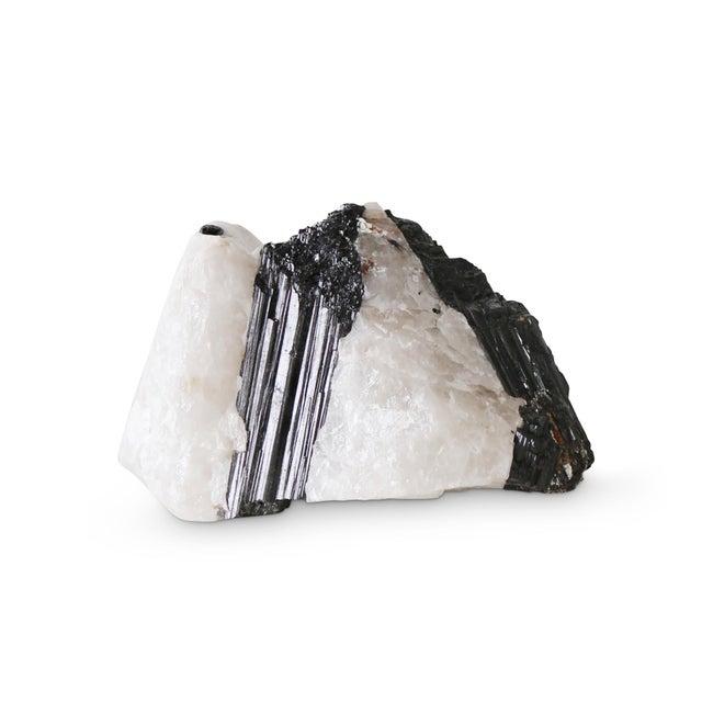 2020s Modern Sleek Black and White Tourmaline 6 Specimen For Sale - Image 5 of 5