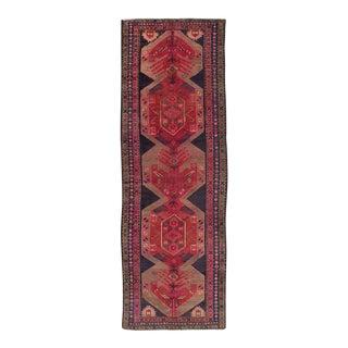 Brick and Rose Semi Antique Persian Runner Rug - 3′6″ × 10′11″