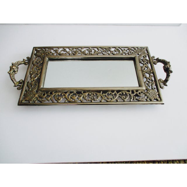 Vintage Ornate Silver Filigree & Mirrored Tray - Image 2 of 10
