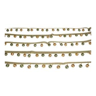 Kravet Couture Satin Beaded Fringe in Jewel Green Gold Tassel Trim - 9-1/8 For Sale